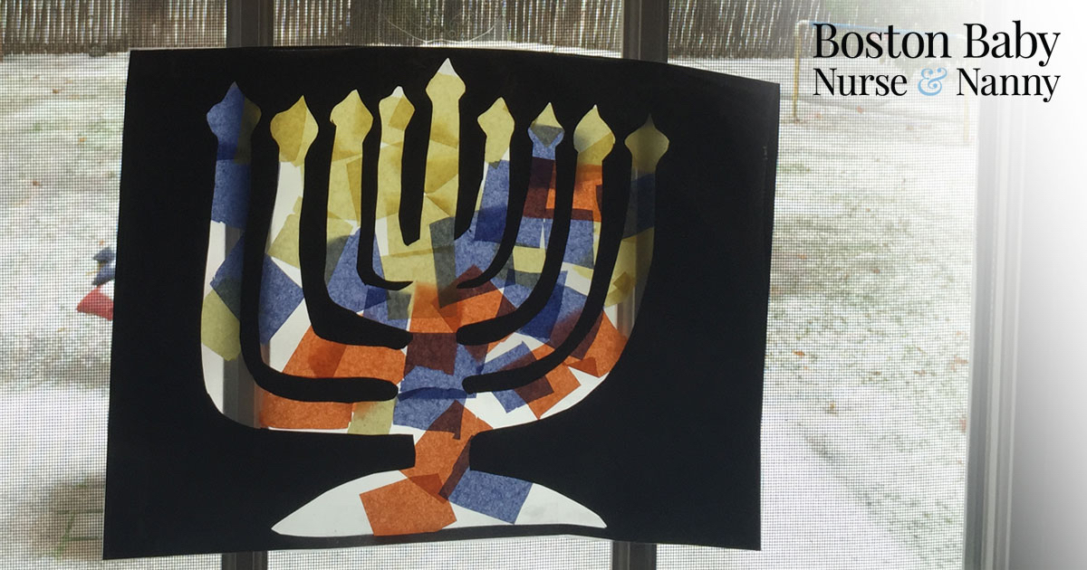 stained glass menorah art project