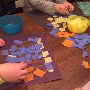 colored tissue paper menorah
