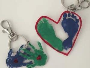 heart footprint keychain