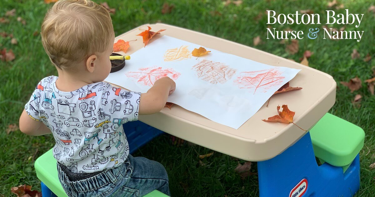 child leaf rubbing activity