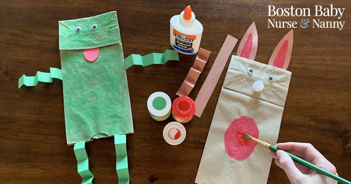 frog and bunny puppets