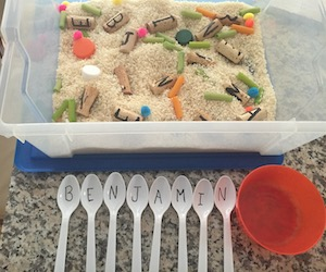 alphabet rice sensory bin