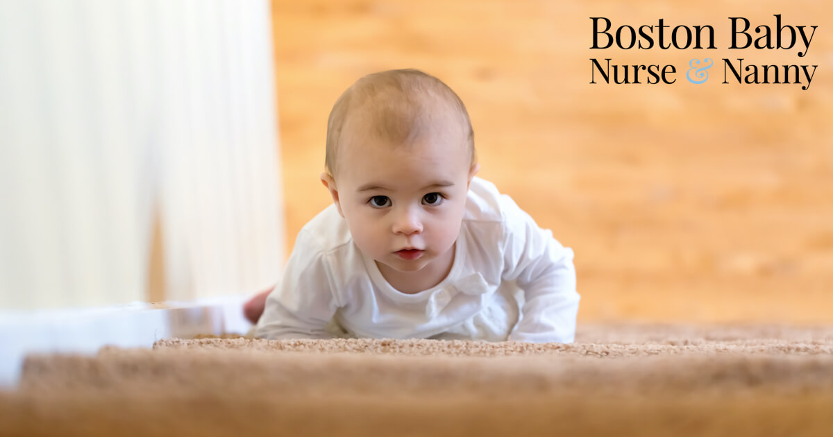 baby crawling up stairs