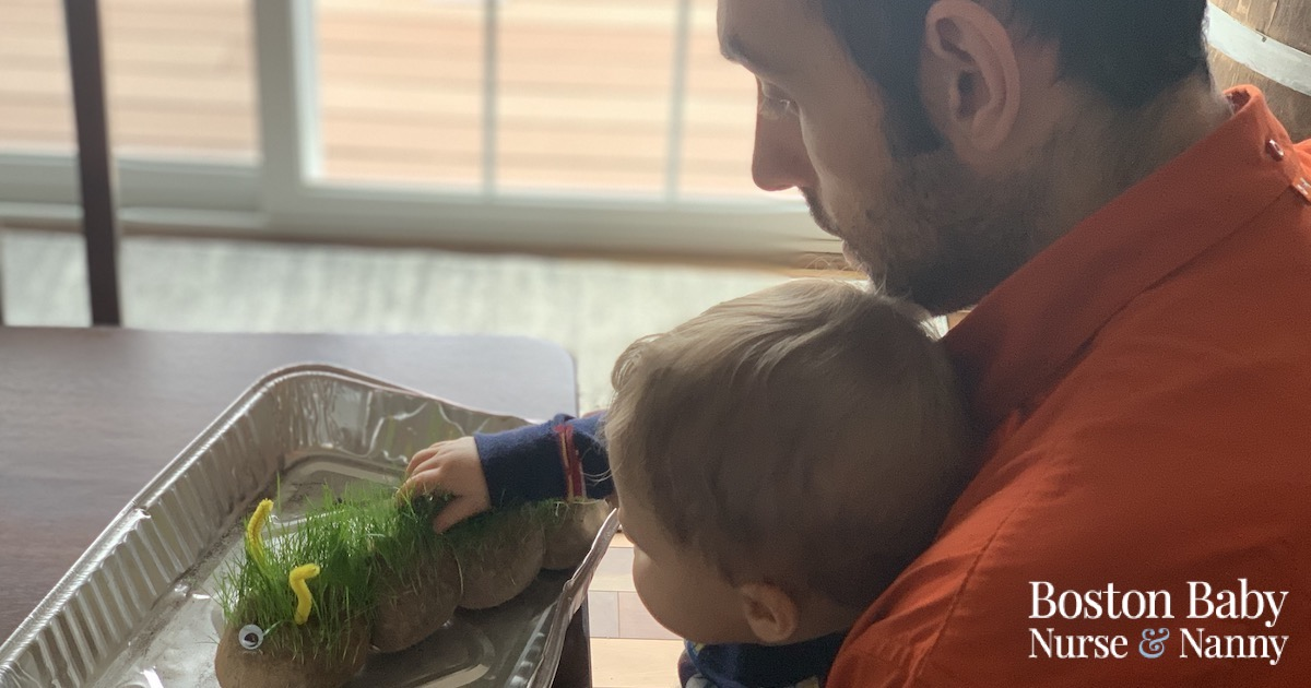grass planting with children and dad