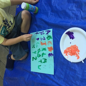 letter tracing with paint