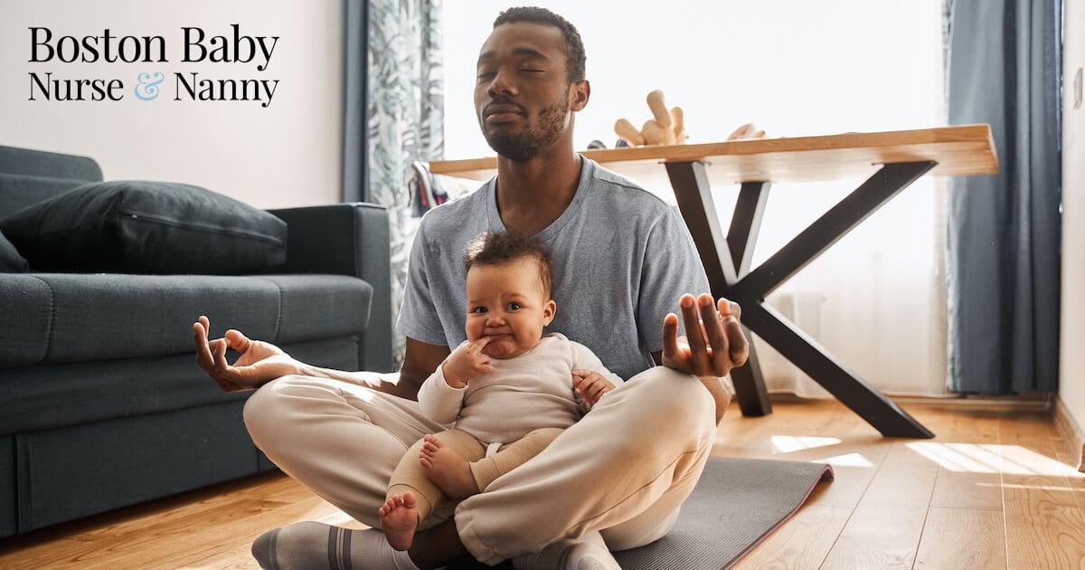 dad meditating with child