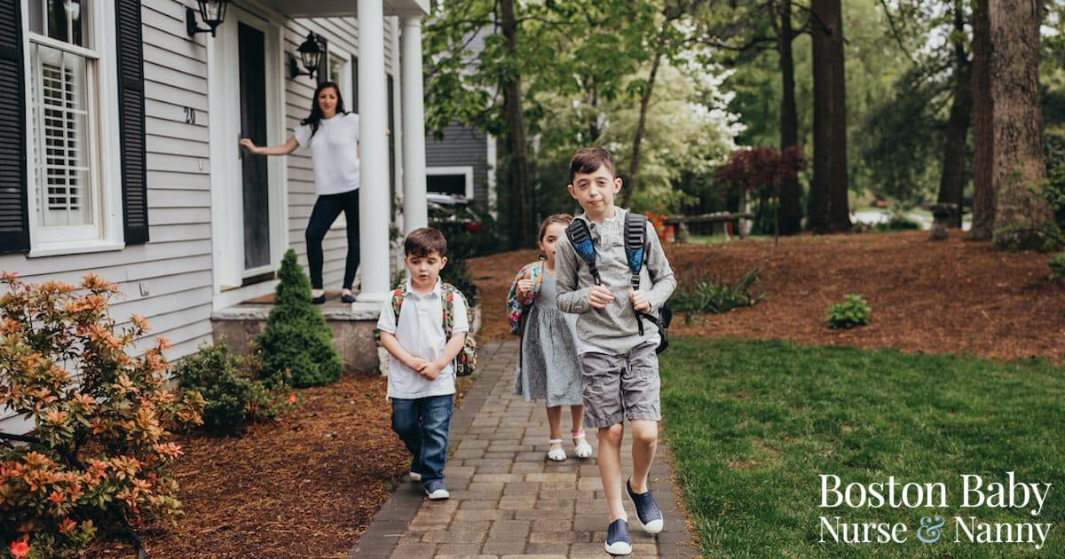 children leaving for school